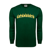 Dark Green Long Sleeve T Shirt-Arched Vermont Catamounts