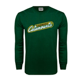 Dark Green Long Sleeve T Shirt-Slanted Vermont Catamounts