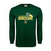 Dark Green Long Sleeve T Shirt-Soccer Swoosh Design