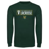 Dark Green Long Sleeve T Shirt-Lacrosse Helmet Design