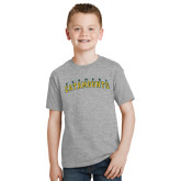 Youth Grey T-Shirt-Arched Vermont Catamounts