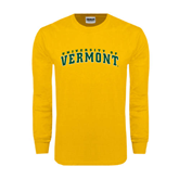 Gold Long Sleeve T Shirt-Arched University of Vermont