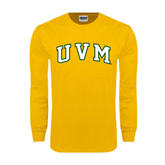 Gold Long Sleeve T Shirt-Arched UVM