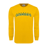 Gold Long Sleeve T Shirt-Arched Vermont Catamounts
