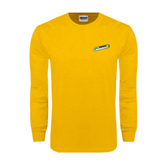 Gold Long Sleeve T Shirt-Slanted Vermont Catamounts
