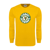 Gold Long Sleeve T Shirt-Vermont Catamounts Circle