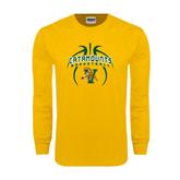 Gold Long Sleeve T Shirt-Basketball in Ball Design