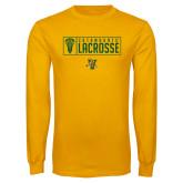 Gold Long Sleeve T Shirt-Lacrosse Helmet Design