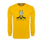 Gold Long Sleeve T Shirt-Hockey Sticks Crossed Design
