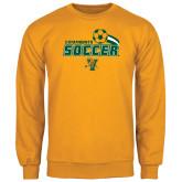 Gold Fleece Crew-Soccer Swoosh Design