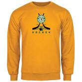 Gold Fleece Crew-Hockey Sticks Crossed Design