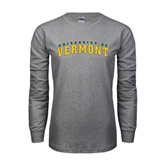 Grey Long Sleeve TShirt-Arched University of Vermont