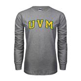 Grey Long Sleeve TShirt-Arched UVM