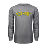 Grey Long Sleeve TShirt-Arched Vermont