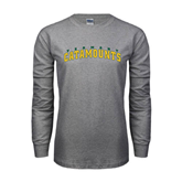 Grey Long Sleeve TShirt-Arched Vermont Catamounts