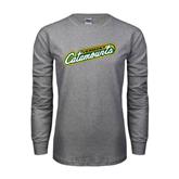 Grey Long Sleeve TShirt-Slanted Vermont Catamounts