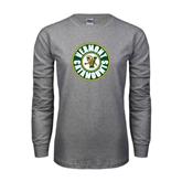 Grey Long Sleeve TShirt-Vermont Catamounts Circle
