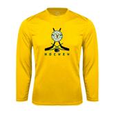Syntrel Performance Gold Longsleeve Shirt-Hockey Sticks Crossed Design