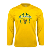 Syntrel Performance Gold Longsleeve Shirt-Basketball in Ball Design