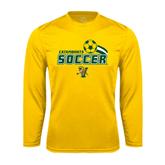 Syntrel Performance Gold Longsleeve Shirt-Soccer Swoosh Design
