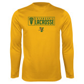Syntrel Performance Gold Longsleeve Shirt-Lacrosse Helmet Design