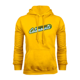 Gold Fleece Hoodie-Slanted Vermont Catamounts