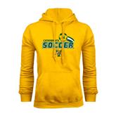 Gold Fleece Hoodie-Soccer Swoosh Design