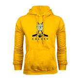 Gold Fleece Hoodie-Hockey Sticks Crossed Design