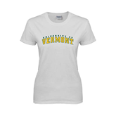 Ladies White T Shirt-Arched University of Vermont