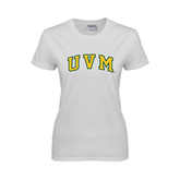 Ladies White T Shirt-Arched UVM