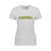 Ladies White T Shirt-Arched Vermont