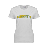 Ladies White T Shirt-Arched Catamounts