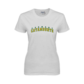 Ladies White T Shirt-Arched Vermont Catamounts