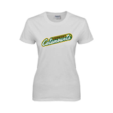 Ladies White T Shirt-Slanted Vermont Catamounts