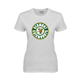 Ladies White T Shirt-Vermont Catamounts Circle