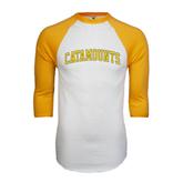 White/Gold Raglan Baseball T-Shirt-Arched Catamounts
