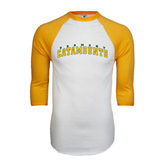White/Gold Raglan Baseball T-Shirt-Arched Vermont Catamounts