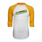 White/Gold Raglan Baseball T-Shirt-Slanted Vermont Catamounts