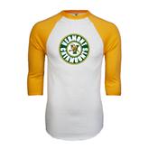 White/Gold Raglan Baseball T-Shirt-Vermont Catamounts Circle