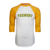 White/Gold Raglan Baseball T-Shirt-Arched Vermont