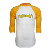 White/Gold Raglan Baseball T-Shirt-Arched University of Vermont