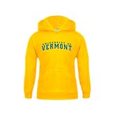 Youth Gold Fleece Hoodie-Arched University of Vermont