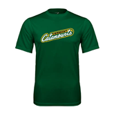 Performance Dark Green Tee-Slanted Vermont Catamounts