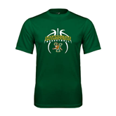 Performance Dark Green Tee-Basketball in Ball Design