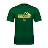 Performance Dark Green Tee-Soccer Swoosh Design