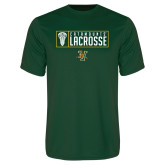 Performance Dark Green Tee-Lacrosse Helmet Design