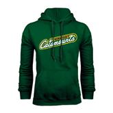 Dark Green Fleece Hood-Slanted Vermont Catamounts