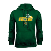 Dark Green Fleece Hood-Soccer Swoosh Design