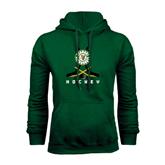 Dark Green Fleece Hood-Hockey Sticks Crossed Design