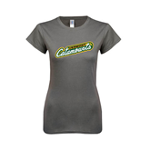 Ladies SoftStyle Junior Fitted Charcoal Tee-Slanted Vermont Catamounts